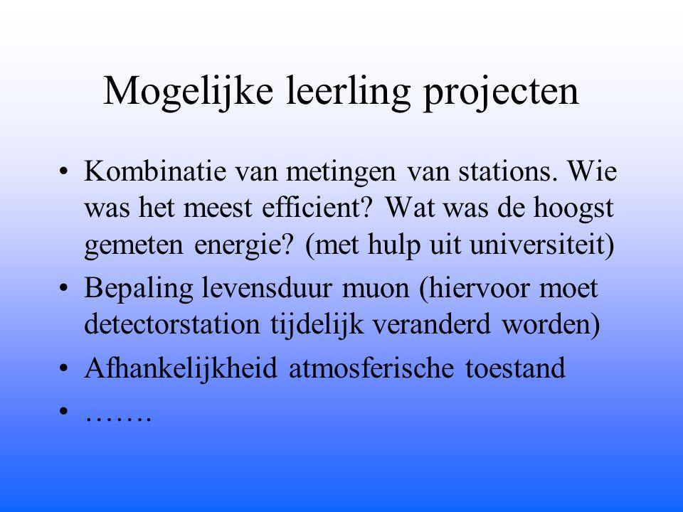 Mogelijke leerling projecten Kombinatie van metingen van stations. Wie was het meest efficient? Wat was de hoogst gemeten energie? (met hulp uit unive