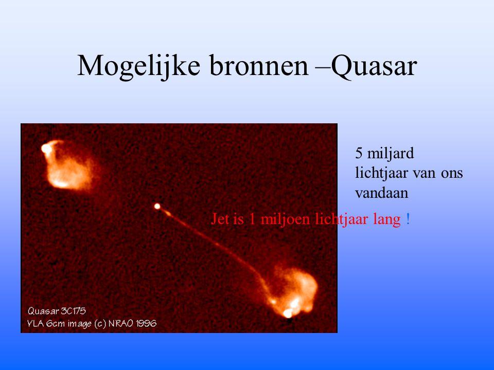 Mogelijke bronnen –Quasar Jet is 1 miljoen lichtjaar lang ! 5 miljard lichtjaar van ons vandaan