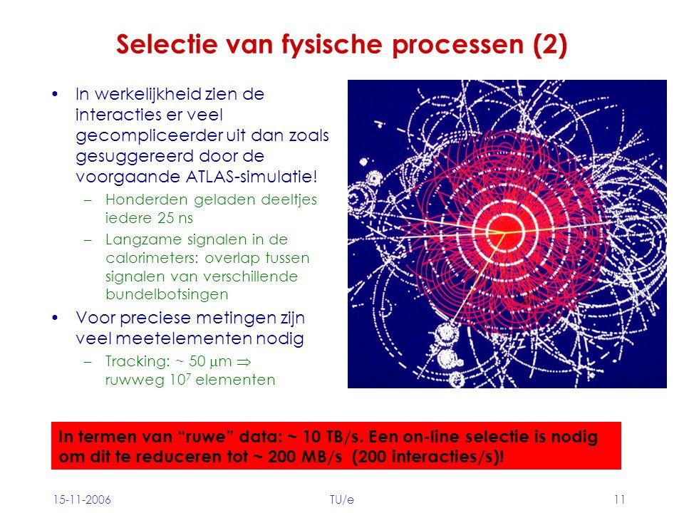 15-11-2006TU/e11 Selectie van fysische processen (2) In werkelijkheid zien de interacties er veel gecompliceerder uit dan zoals gesuggereerd door de voorgaande ATLAS-simulatie.