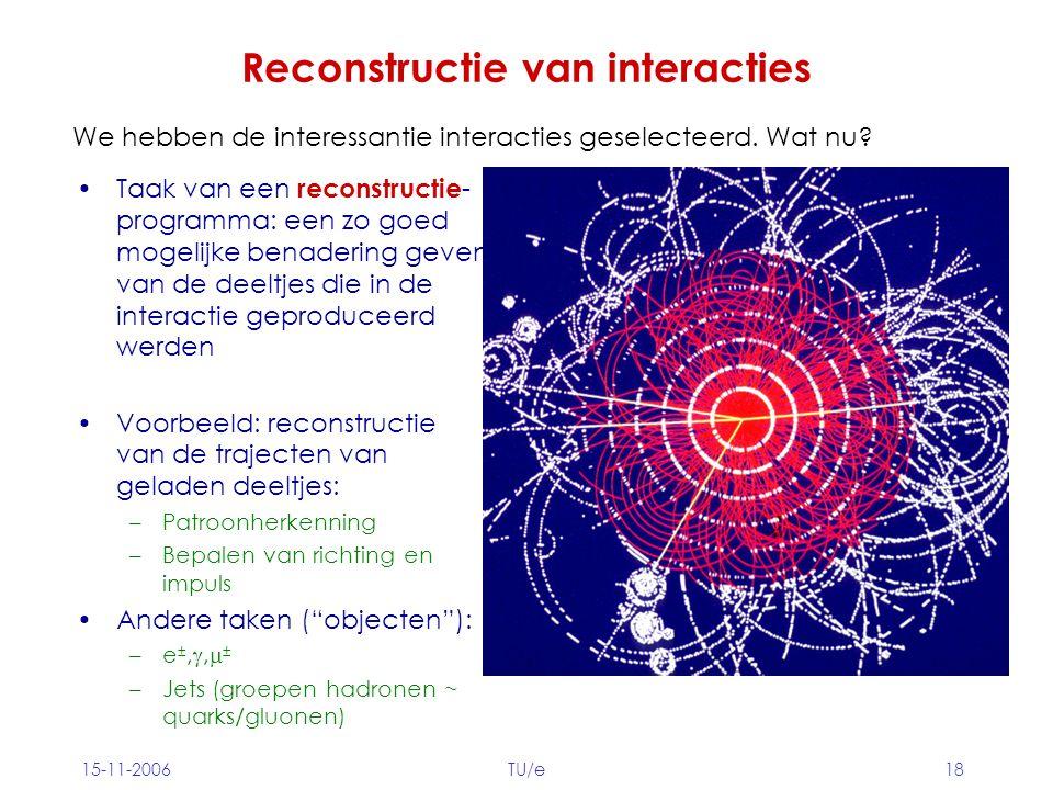15-11-2006TU/e18 Reconstructie van interacties Taak van een reconstructie - programma: een zo goed mogelijke benadering geven van de deeltjes die in de interactie geproduceerd werden Voorbeeld: reconstructie van de trajecten van geladen deeltjes: –Patroonherkenning –Bepalen van richting en impuls Andere taken ( objecten ): –e ±, ,  ± –Jets (groepen hadronen ~ quarks/gluonen) We hebben de interessantie interacties geselecteerd.
