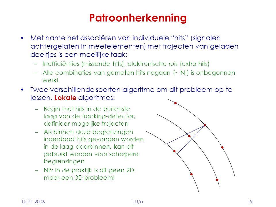 15-11-2006TU/e19 Patroonherkenning Met name het associëren van individuele hits (signalen achtergelaten in meetelementen) met trajecten van geladen deeltjes is een moeilijke taak: –Inefficiënties (missende hits), elektronische ruis (extra hits) –Alle combinaties van gemeten hits nagaan (~ N!) is onbegonnen werk.