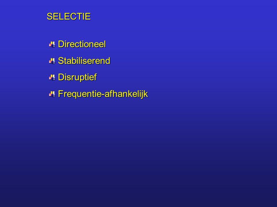 SELECTIE Directioneel Directioneel Stabiliserend Stabiliserend Disruptief Disruptief Frequentie-afhankelijk Frequentie-afhankelijk