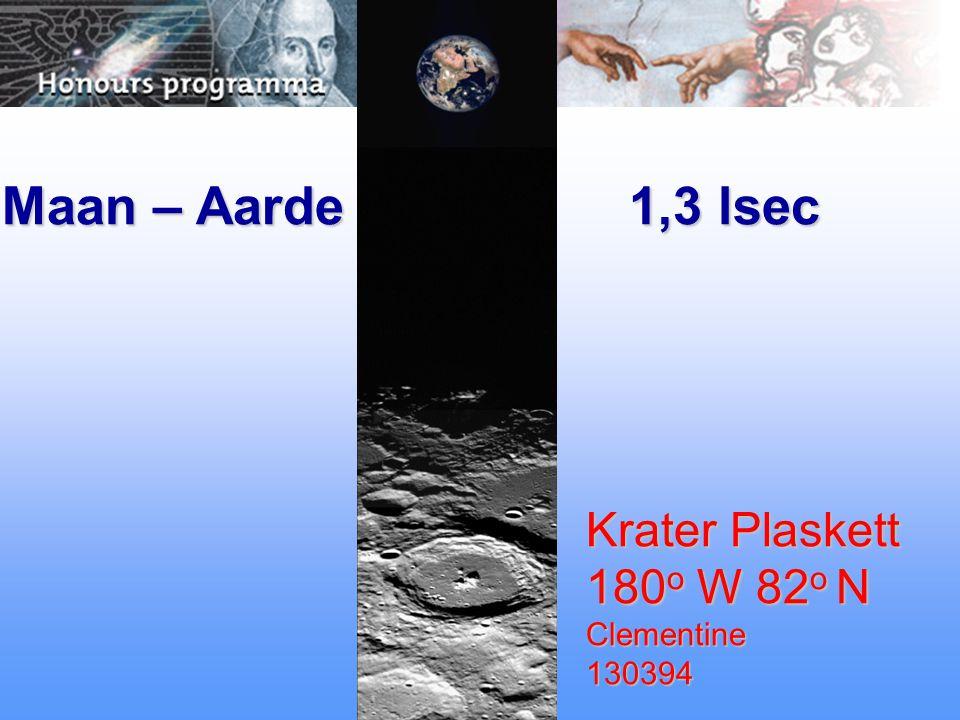 Maan – Aarde 1,3 lsec Krater Plaskett 180 o W 82 o N Clementine130394