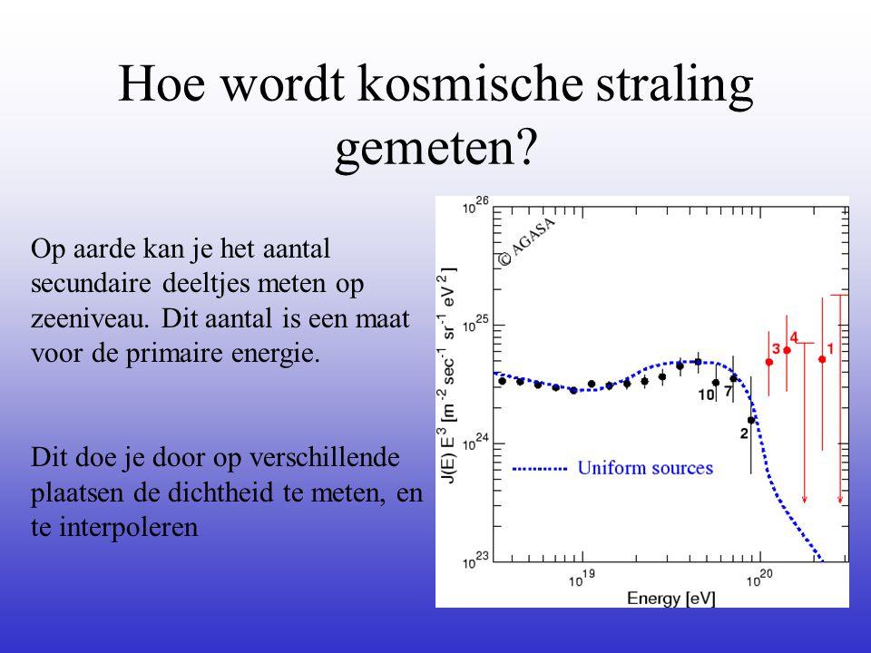 Hoe wordt kosmische straling gemeten? Op aarde kan je het aantal secundaire deeltjes meten op zeeniveau. Dit aantal is een maat voor de primaire energ