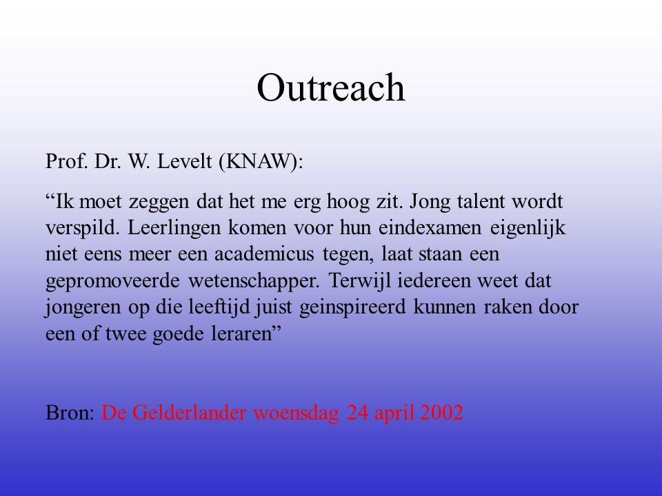 """Outreach Prof. Dr. W. Levelt (KNAW): """"Ik moet zeggen dat het me erg hoog zit. Jong talent wordt verspild. Leerlingen komen voor hun eindexamen eigenli"""