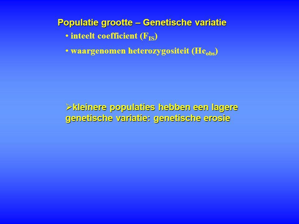 Populatie grootte – Genetische variatie inteelt coefficient (F IS ) waargenomen heterozygositeit (He obs )  kleinere populaties hebben een lagere gen