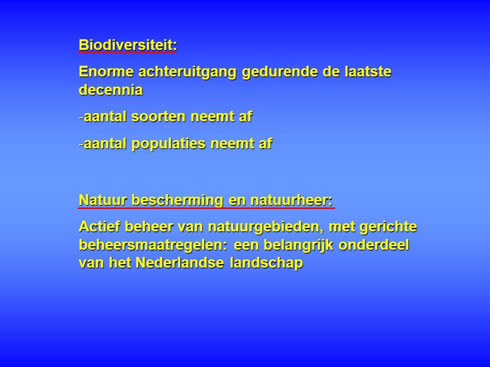 Biodiversiteit: Enorme achteruitgang gedurende de laatste decennia -aantal soorten neemt af -aantal populaties neemt af Natuur bescherming en natuurhe