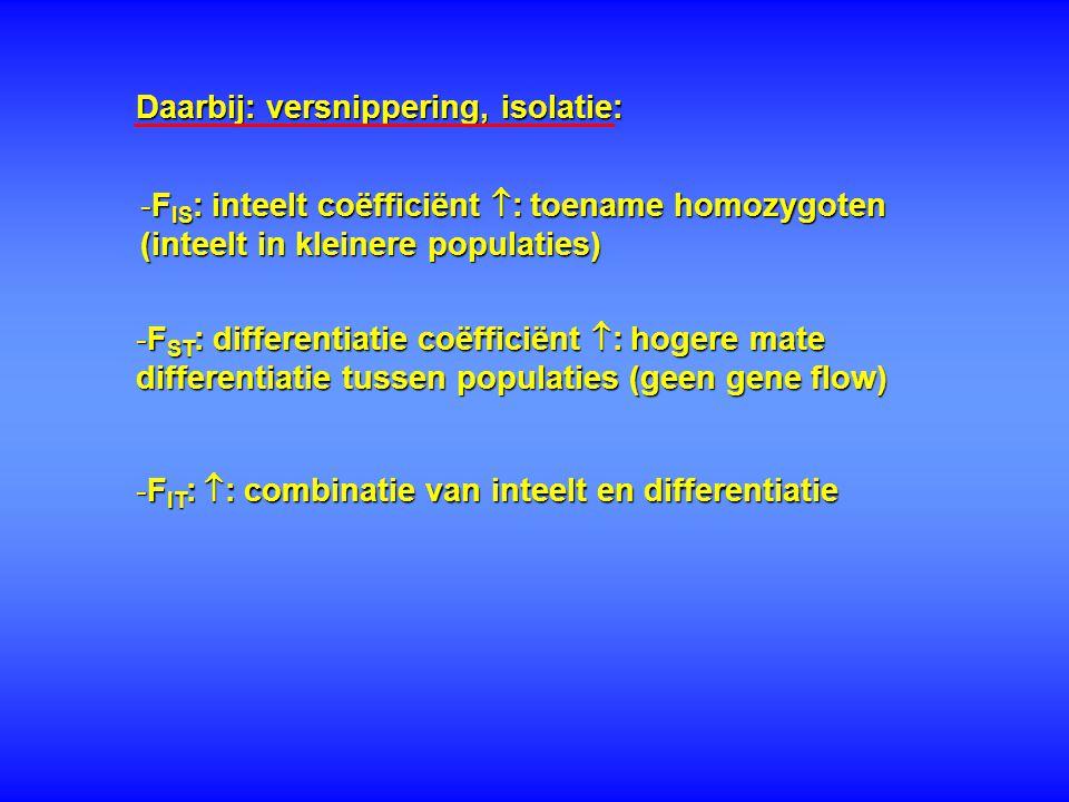 * Korte termijn: genetisch minder variabele individuen presteren minder bij bijv.