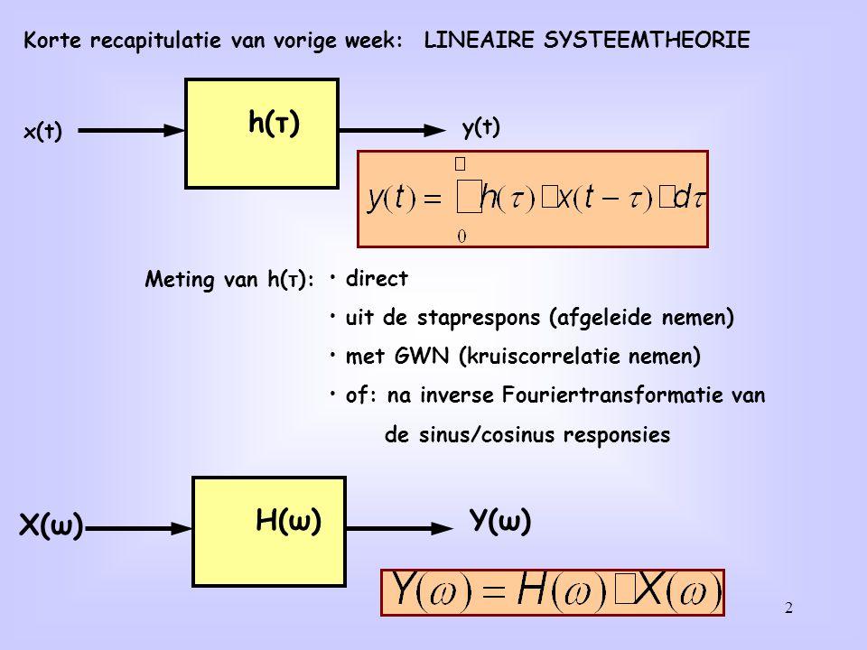 2 Korte recapitulatie van vorige week: LINEAIRE SYSTEEMTHEORIE x(t) y(t) h(τ) X(ω) Y(ω) H(ω) Meting van h(τ): direct uit de staprespons (afgeleide nem