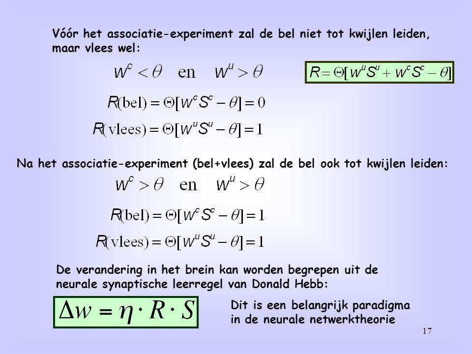 17 Vóór het associatie-experiment zal de bel niet tot kwijlen leiden, maar vlees wel: Na het associatie-experiment (bel+vlees) zal de bel ook tot kwij