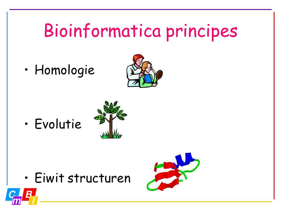 Homologie Schneider: Als eiwit-sequenties meer dan 25% identiek zijn, hebben ze dezelfde vouwing Informatie – overdracht HUGO Aminozuur-volgorde/sequentie Eiwit A: ALLELAMKLAIGNSGP Eiwit B: ALLLIAMKLAIGNSGP