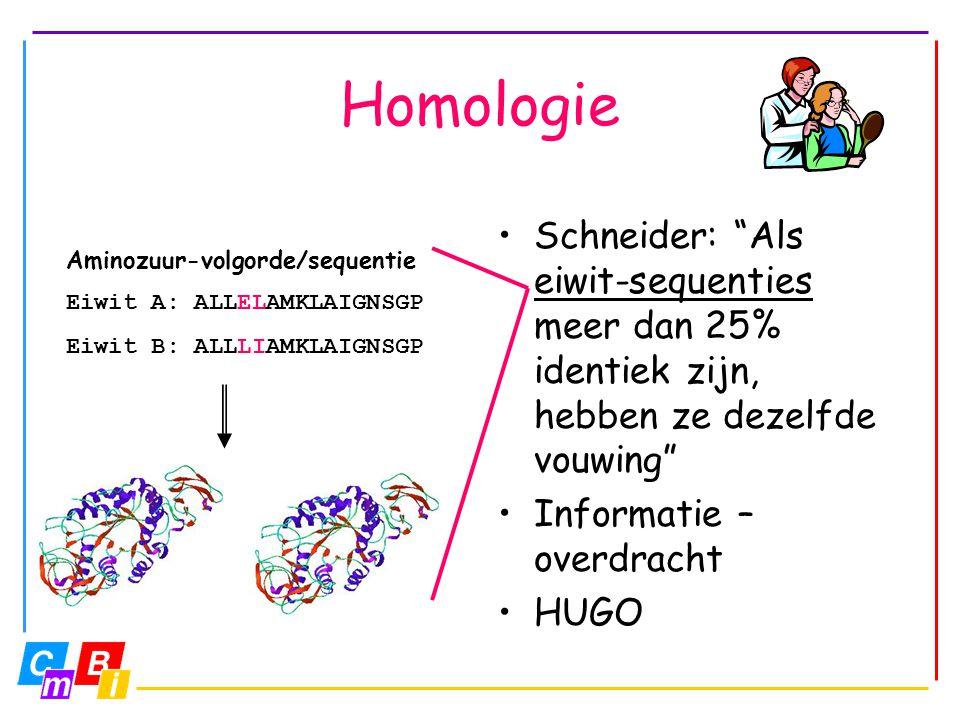 """Homologie Schneider: """"Als eiwit-sequenties meer dan 25% identiek zijn, hebben ze dezelfde vouwing"""" Informatie – overdracht HUGO Aminozuur-volgorde/seq"""