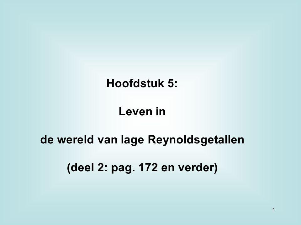 Hoofdstuk 5: Leven in de wereld van lage Reynoldsgetallen (deel 2: pag. 172 en verder) 1