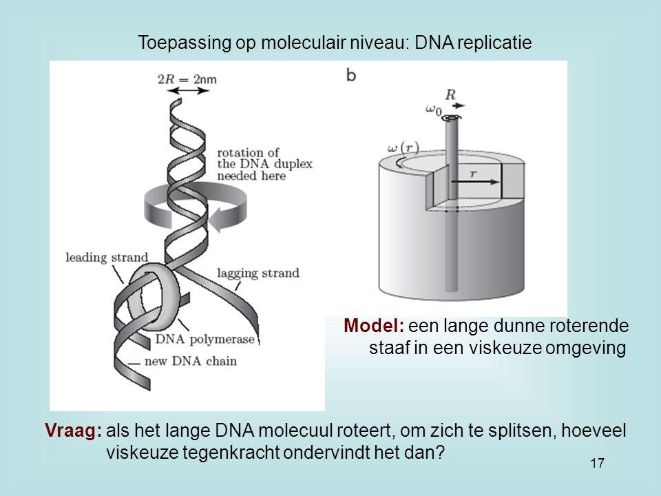 Toepassing op moleculair niveau: DNA replicatie Model: een lange dunne roterende staaf in een viskeuze omgeving Vraag: als het lange DNA molecuul roteert, om zich te splitsen, hoeveel viskeuze tegenkracht ondervindt het dan.