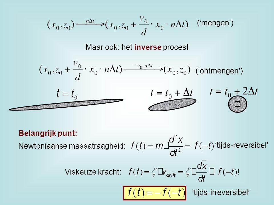 Maar ook: het inverse proces! ('ontmengen') ('mengen') Belangrijk punt: Newtoniaanse massatraagheid: 'tijds-reversibel' Viskeuze kracht: 'tijds-irreve