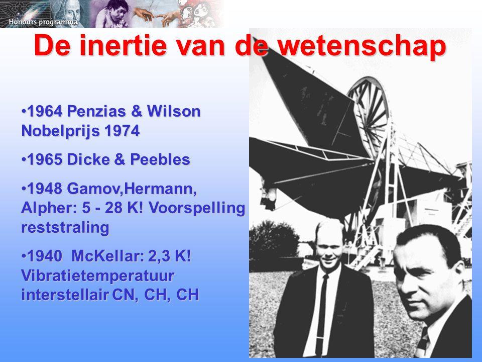 De inertie van de wetenschap 1964 Penzias & Wilson Nobelprijs 19741964 Penzias & Wilson Nobelprijs 1974 1965 Dicke & Peebles1965 Dicke & Peebles 1948 Gamov,Hermann, Alpher: 5 - 28 K.