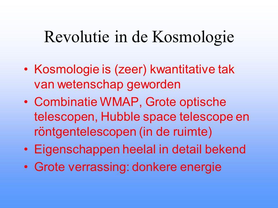 Revolutie in de Kosmologie Kosmologie is (zeer) kwantitative tak van wetenschap geworden Combinatie WMAP, Grote optische telescopen, Hubble space telescope en röntgentelescopen (in de ruimte) Eigenschappen heelal in detail bekend Grote verrassing: donkere energie