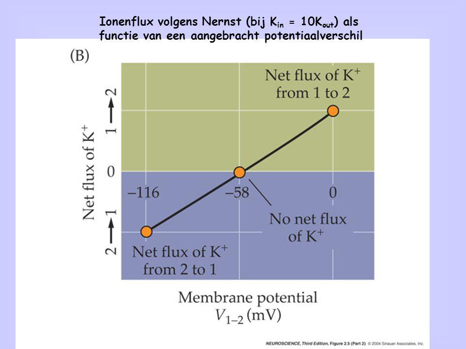 3 Ionenflux volgens Nernst (bij K in = 10K out ) als functie van een aangebracht potentiaalverschil