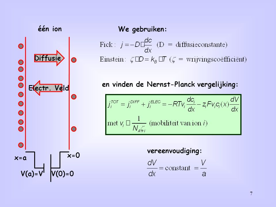 7 één ion x=0 x=a V(0)=0V(a)=V We gebruiken: Diffusie Electr. Veld en vinden de Nernst-Planck vergelijking: vereenvoudiging: