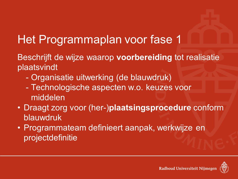 Het Programmaplan voor fase 1 Beschrijft de wijze waarop voorbereiding tot realisatie plaatsvindt -Organisatie uitwerking (de blauwdruk) -Technologische aspecten w.o.
