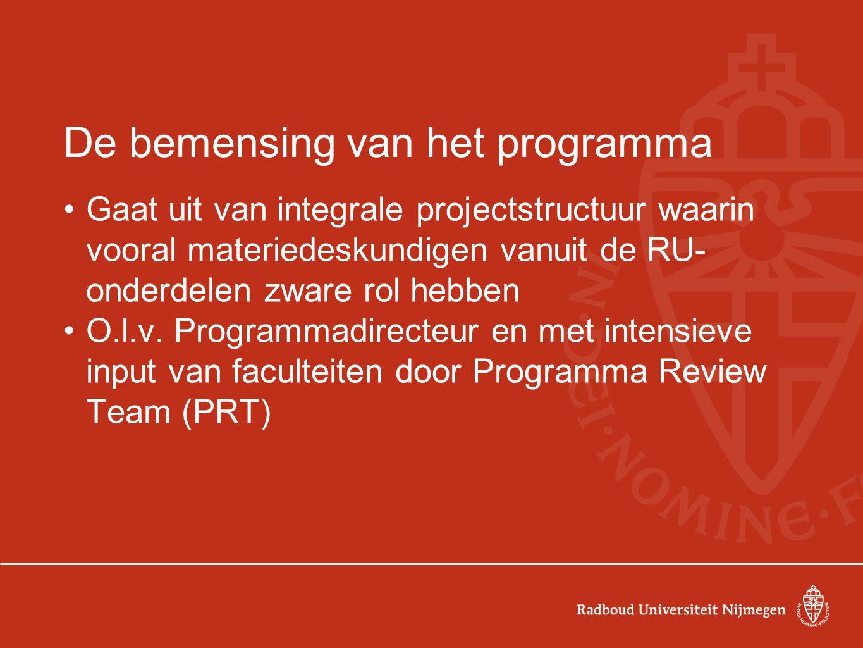 De bemensing van het programma Gaat uit van integrale projectstructuur waarin vooral materiedeskundigen vanuit de RU- onderdelen zware rol hebben O.l.v.