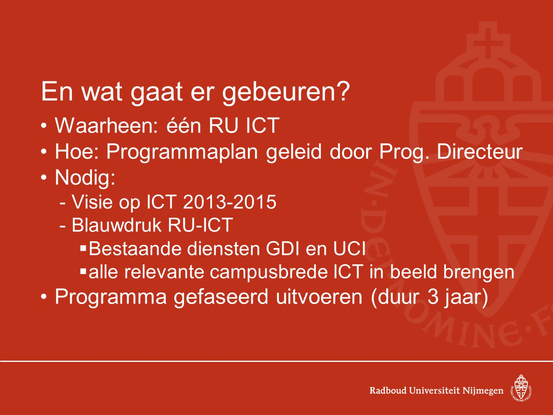 En wat gaat er gebeuren. Waarheen: één RU ICT Hoe: Programmaplan geleid door Prog.