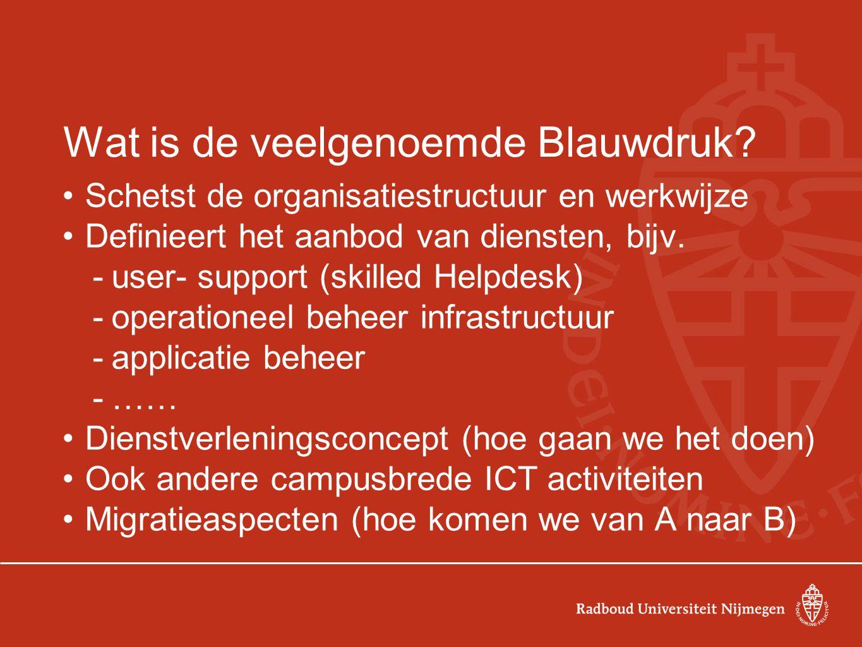 De Blauwdruk (2) Beschrijft de personele aspecten die met de dienstverlening verband houden Voorlopige opsomming taken en diensten Voorlopige indeling -Functie per onderdeel -Functieprofiel en aantal fte Beschrijft personele en ICT aspecten van de migratie