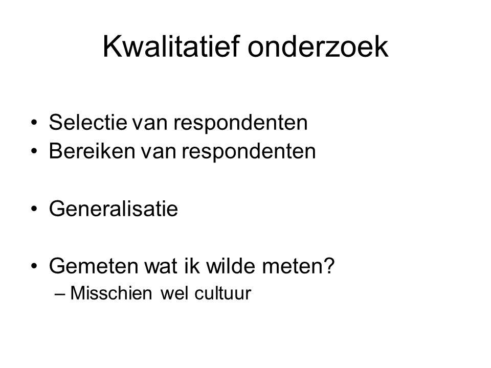 Kwalitatief onderzoek Selectie van respondenten Bereiken van respondenten Generalisatie Gemeten wat ik wilde meten.
