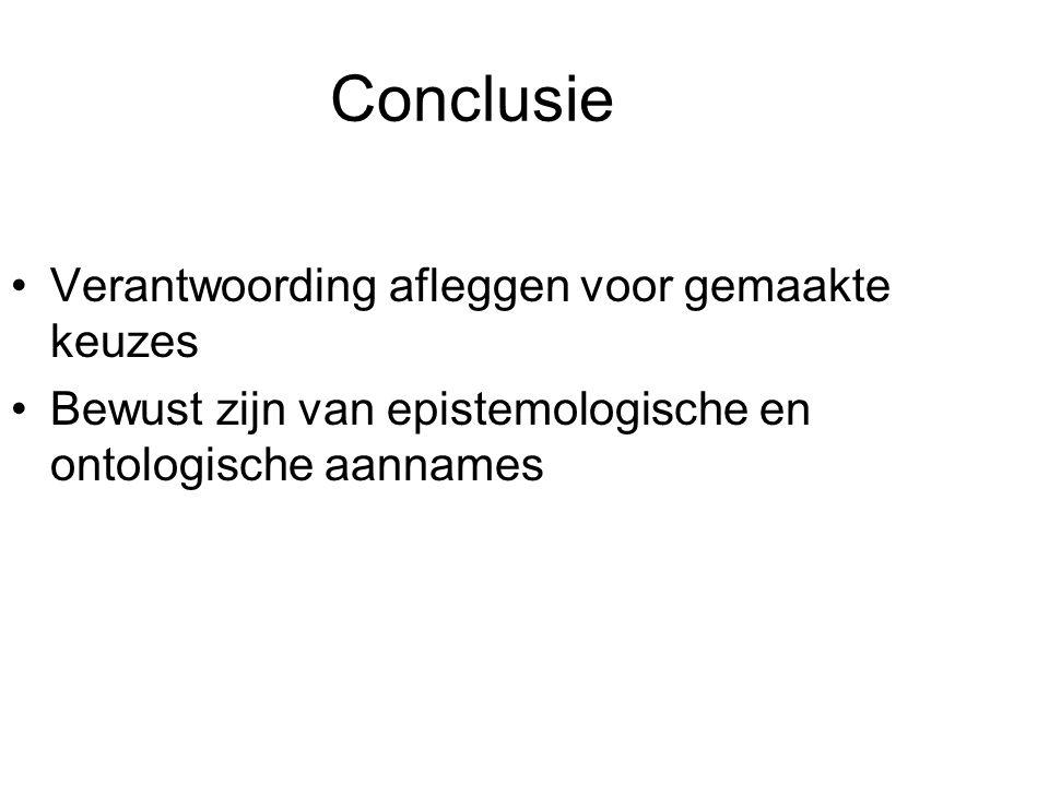 Conclusie Verantwoording afleggen voor gemaakte keuzes Bewust zijn van epistemologische en ontologische aannames