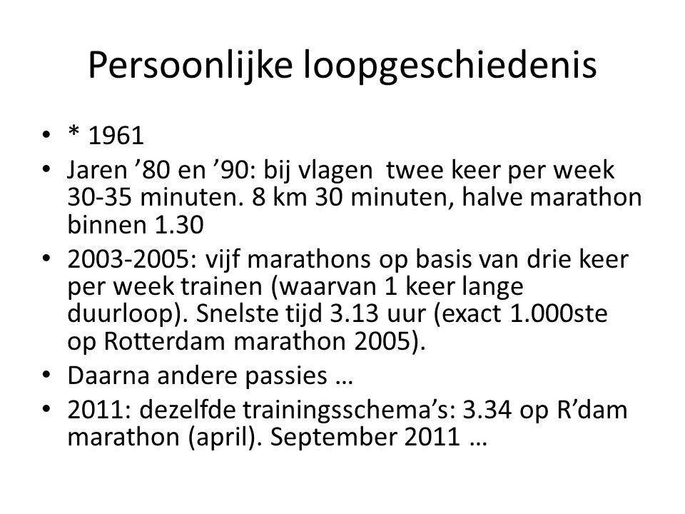 Persoonlijke loopgeschiedenis * 1961 Jaren '80 en '90: bij vlagen twee keer per week 30-35 minuten.