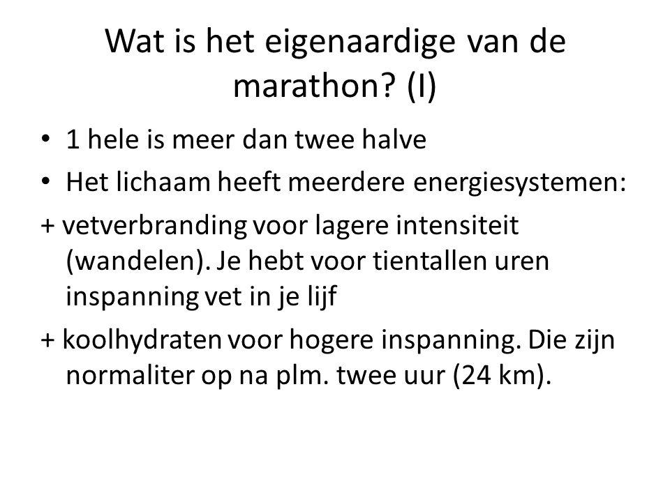 Wat is het eigenaardige van de marathon.