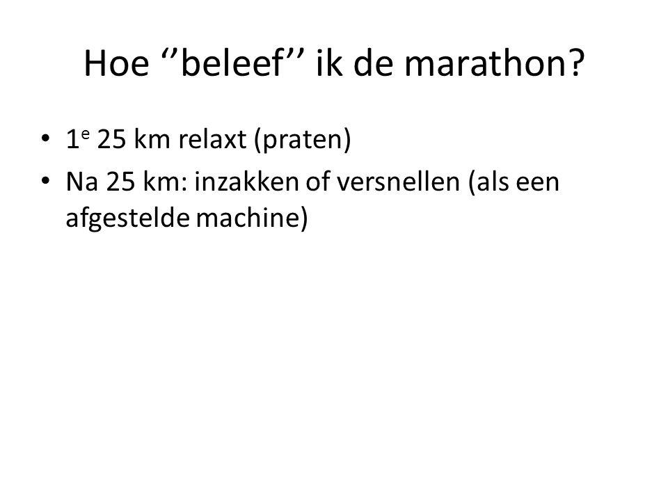 Hoe ''beleef'' ik de marathon.