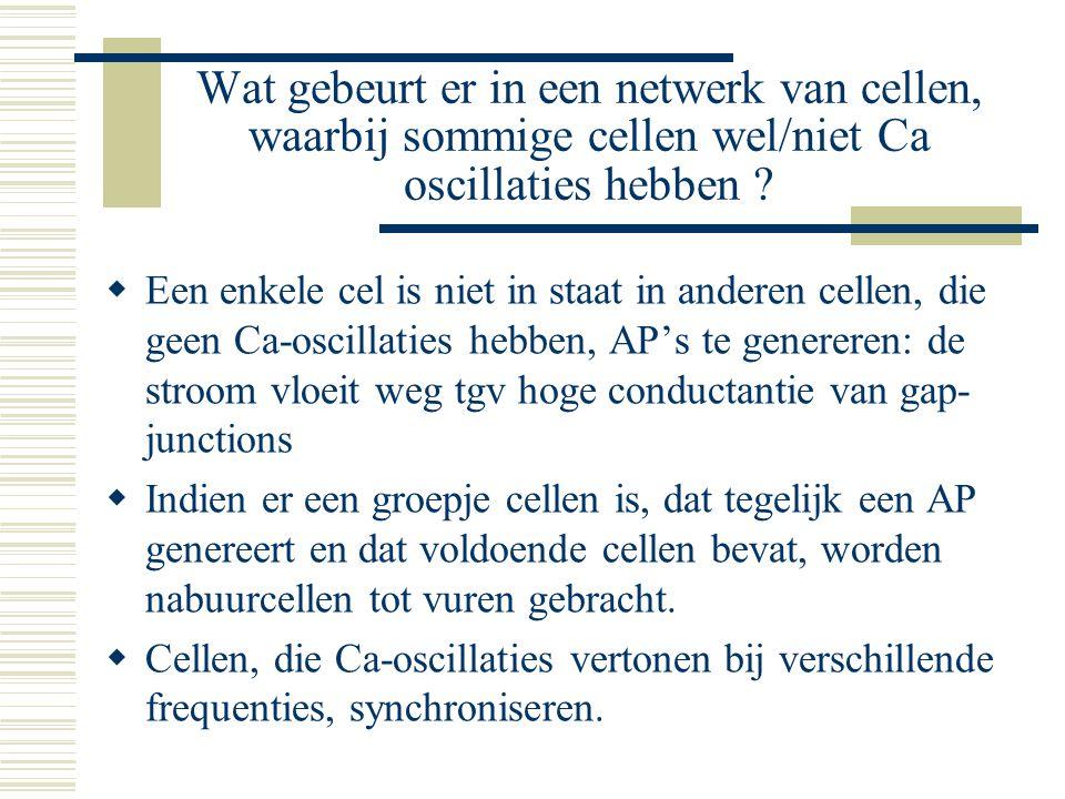 Wat gebeurt er in een netwerk van cellen, waarbij sommige cellen wel/niet Ca oscillaties hebben ?  Een enkele cel is niet in staat in anderen cellen,