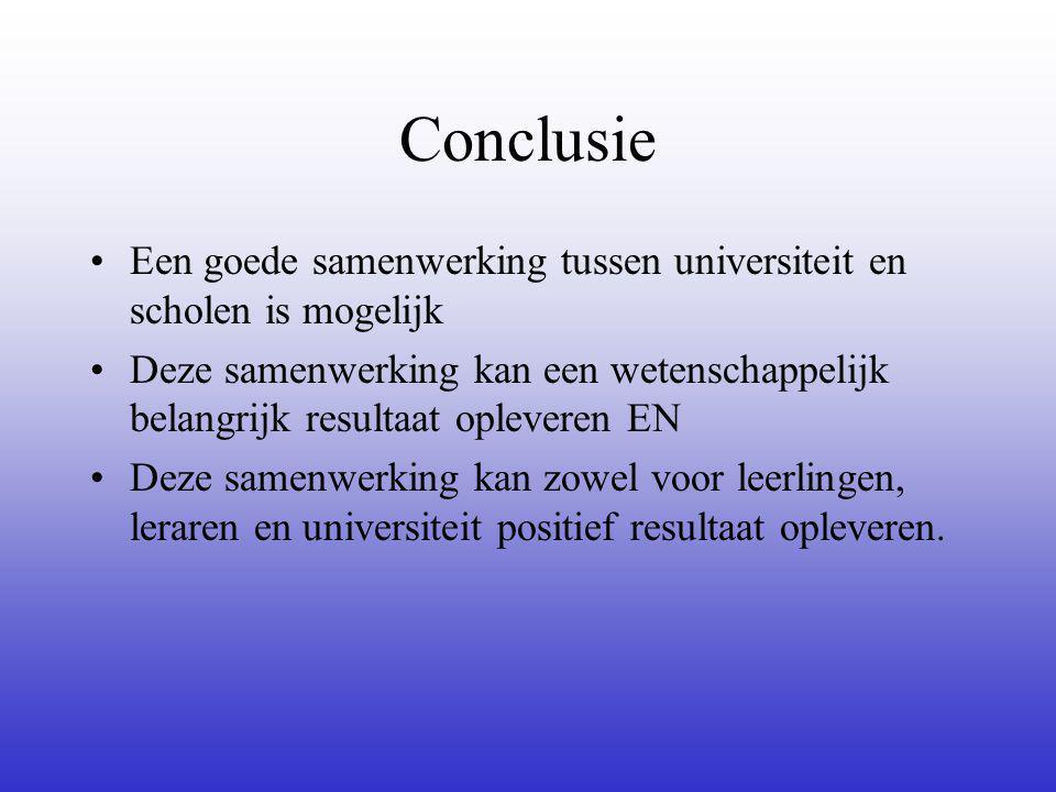 Conclusie Een goede samenwerking tussen universiteit en scholen is mogelijk Deze samenwerking kan een wetenschappelijk belangrijk resultaat opleveren