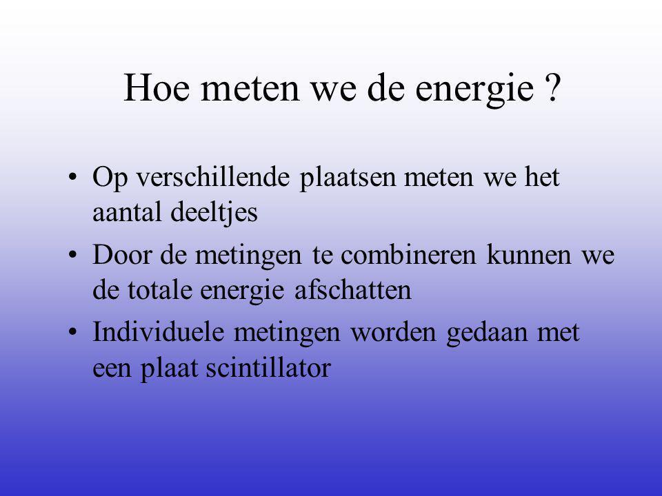 Hoe meten we de energie ? Op verschillende plaatsen meten we het aantal deeltjes Door de metingen te combineren kunnen we de totale energie afschatten