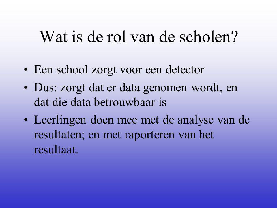 Wat is de rol van de scholen? Een school zorgt voor een detector Dus: zorgt dat er data genomen wordt, en dat die data betrouwbaar is Leerlingen doen