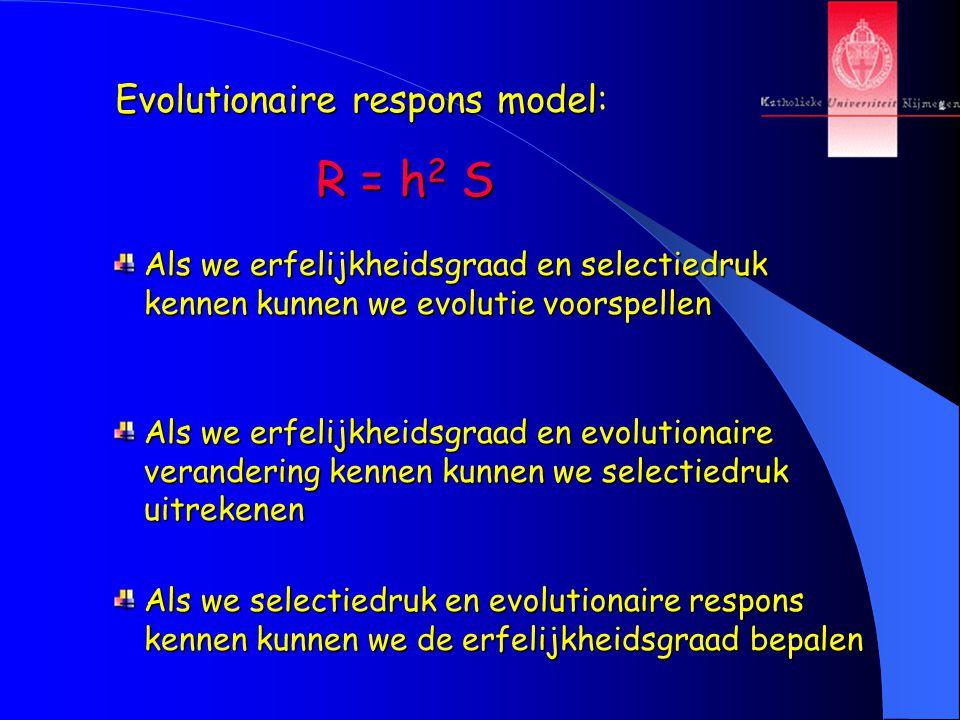 Evolutionaire respons model Evolutionaire respons model: R = h 2 S Als we erfelijkheidsgraad en selectiedruk kennen kunnen we evolutie voorspellen Als