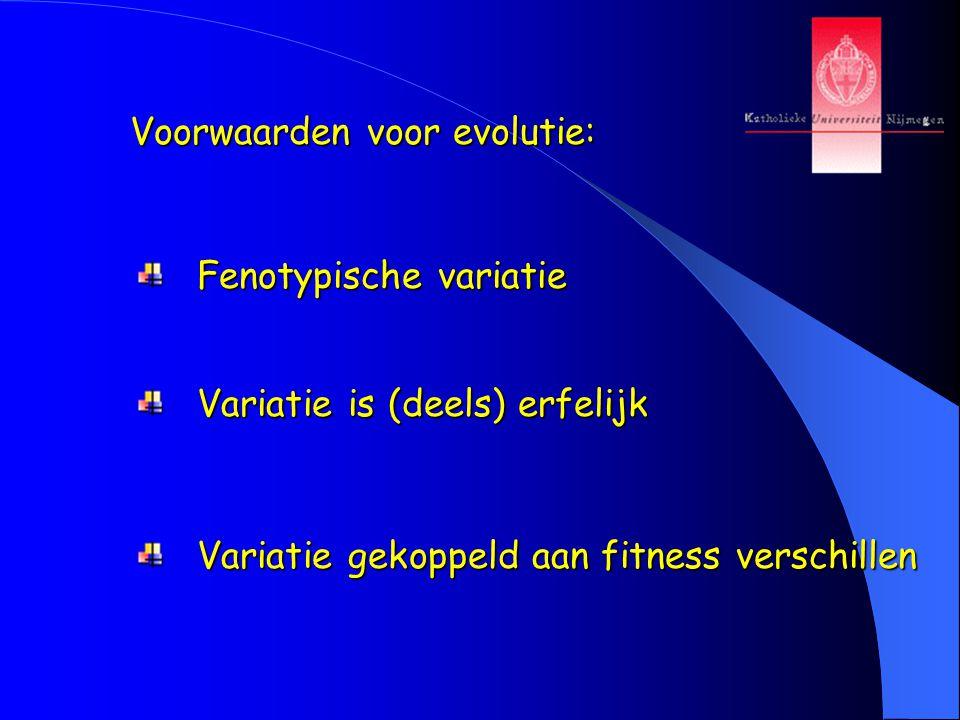 Voorwaarden voor evolutie: Fenotypische variatie Fenotypische variatie Variatie is (deels) erfelijk Variatie is (deels) erfelijk Variatie gekoppeld aa
