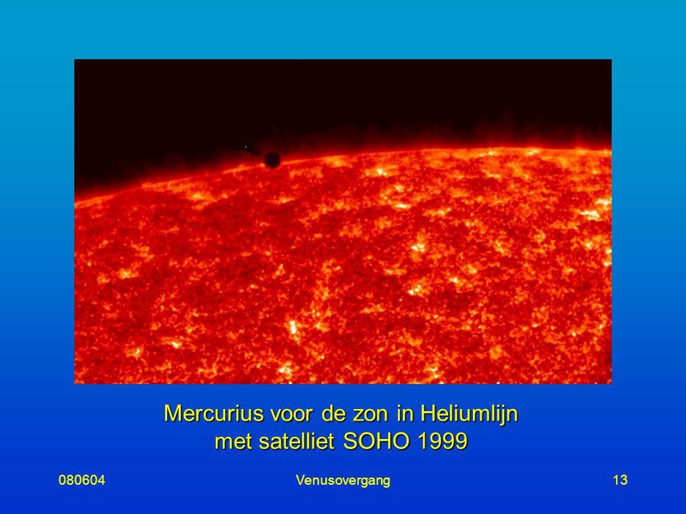 080604Venusovergang13 Mercurius voor de zon in Heliumlijn met satelliet SOHO 1999