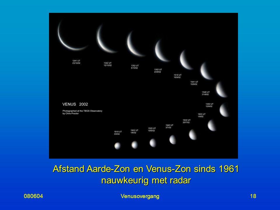 080604Venusovergang18 Afstand Aarde-Zon en Venus-Zon sinds 1961 nauwkeurig met radar