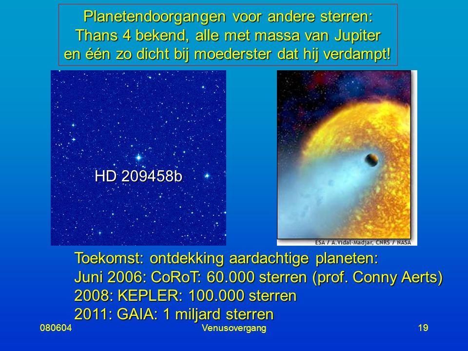 080604Venusovergang19 Planetendoorgangen voor andere sterren: Thans 4 bekend, alle met massa van Jupiter en één zo dicht bij moederster dat hij verdampt.