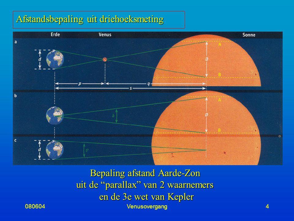 080604Venusovergang4 Bepaling afstand Aarde-Zon uit de parallax van 2 waarnemers en de 3e wet van Kepler Afstandsbepaling uit driehoeksmeting