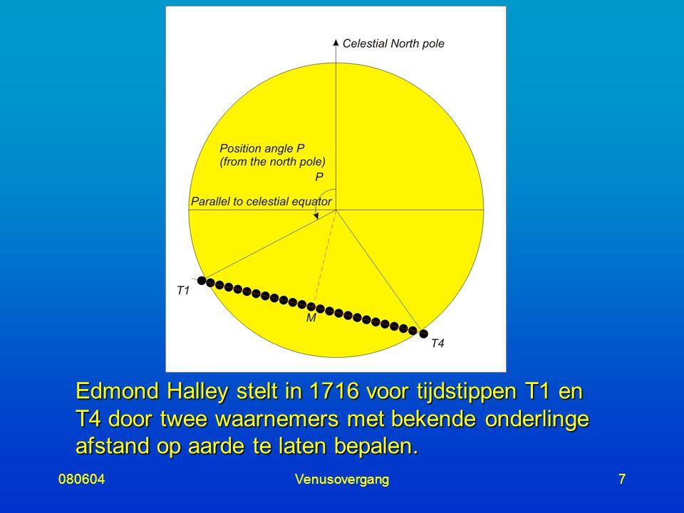 080604Venusovergang7 Edmond Halley stelt in 1716 voor tijdstippen T1 en T4 door twee waarnemers met bekende onderlinge afstand op aarde te laten bepalen.