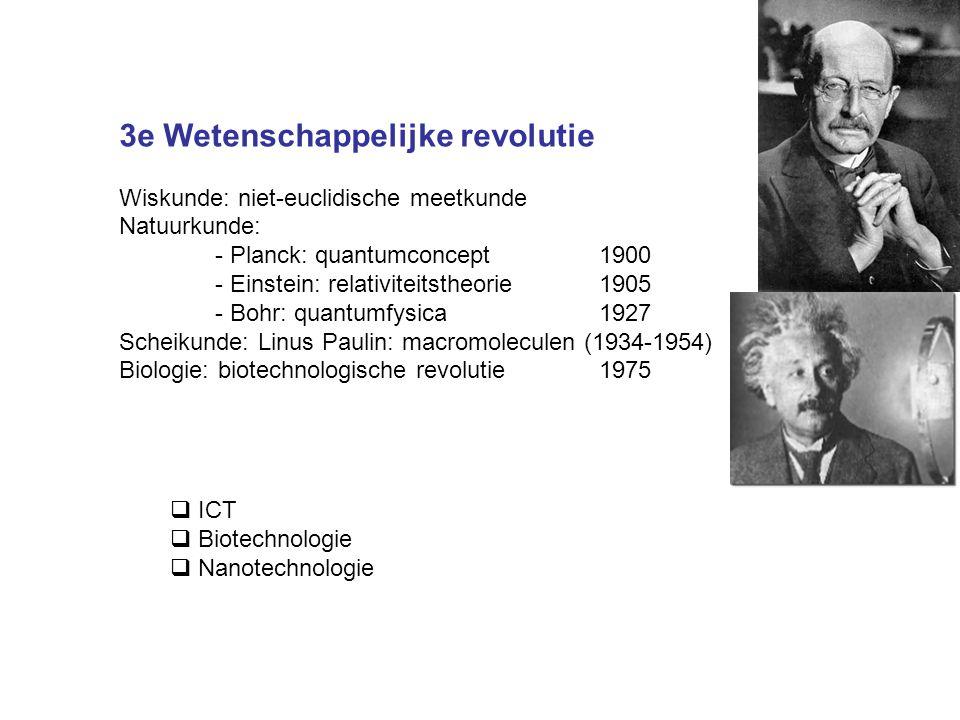 3e Wetenschappelijke revolutie Wiskunde: niet-euclidische meetkunde Natuurkunde: - Planck: quantumconcept1900 - Einstein: relativiteitstheorie1905 - B