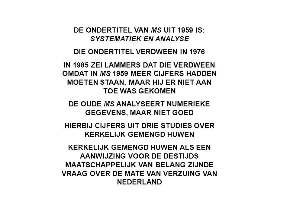 DE ONDERTITEL VAN MS UIT 1959 IS: SYSTEMATIEK EN ANALYSE DIE ONDERTITEL VERDWEEN IN 1976 IN 1985 ZEI LAMMERS DAT DIE VERDWEEN OMDAT IN MS 1959 MEER CI