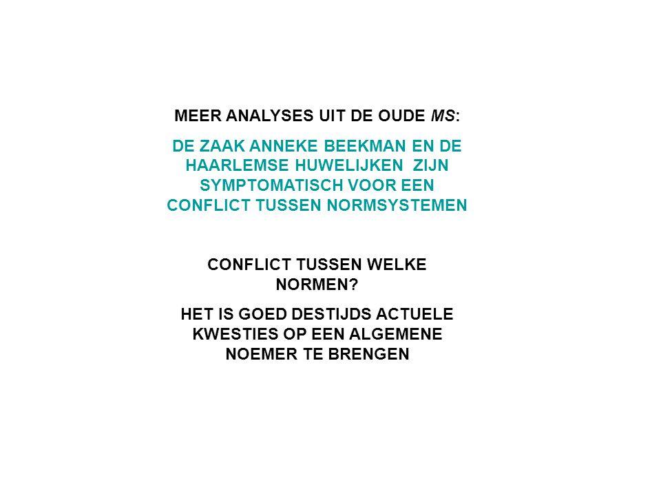 MEER ANALYSES UIT DE OUDE MS: DE ZAAK ANNEKE BEEKMAN EN DE HAARLEMSE HUWELIJKEN ZIJN SYMPTOMATISCH VOOR EEN CONFLICT TUSSEN NORMSYSTEMEN CONFLICT TUSS