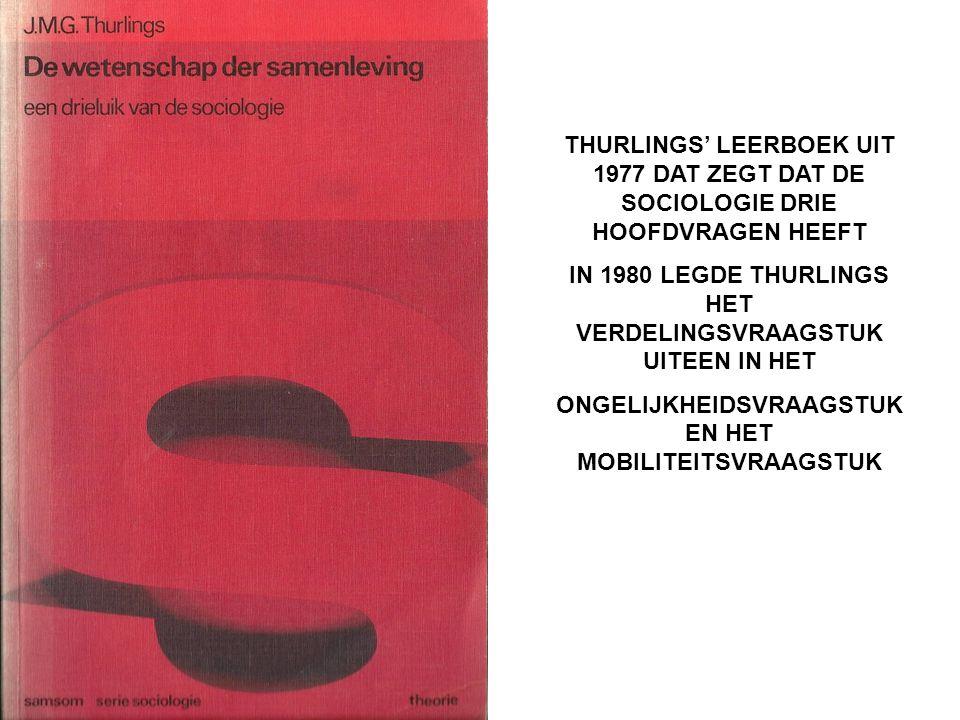 THURLINGS' LEERBOEK UIT 1977 DAT ZEGT DAT DE SOCIOLOGIE DRIE HOOFDVRAGEN HEEFT IN 1980 LEGDE THURLINGS HET VERDELINGSVRAAGSTUK UITEEN IN HET ONGELIJKH