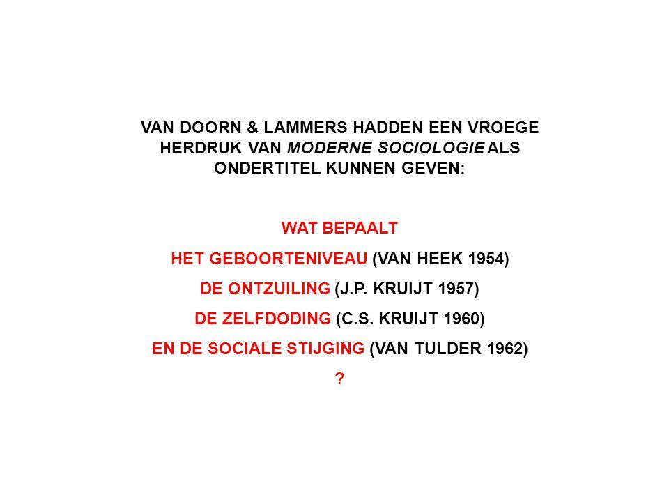 VAN DOORN & LAMMERS HADDEN EEN VROEGE HERDRUK VAN MODERNE SOCIOLOGIE ALS ONDERTITEL KUNNEN GEVEN: WAT BEPAALT HET GEBOORTENIVEAU (VAN HEEK 1954) DE ON