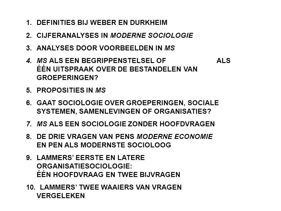 1.DEFINITIES BIJ WEBER EN DURKHEIM 2.CIJFERANALYSES IN MODERNE SOCIOLOGIE 3.ANALYSES DOOR VOORBEELDEN IN MS 4.MS ALS EEN BEGRIPPENSTELSEL OF ALS ÉÉN U