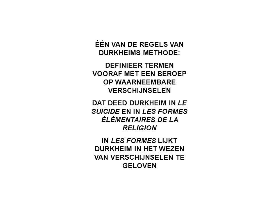 DURKHEIM BEROEMD DOOR DE BEGRIPPEN INDIVIDUALISME EN ANOMIE MAAR DIE TERMEN DEFINIEERT HIJ ACHTERAF EN BESLIST NIET OPERATIONEEL IN LE SUICIDE MET DE TERMEN EGOÏSME EN ALTRUÏSME VERHULT DURKHEIM DE KWESTIE HOE DE EGOÏSME-PROPOSITIE EN DE ALTRUÏSME- PROPOSITIE UIT EEN MEER ALGEMENE UITSPRAAK MOET WORDEN AFGELEID IDEM MET DE TERMEN ANOMIE EN FATALISME INVOERING BEGRIPPEN ACHTERAF BRENGT LATERE GENERATIES MINDER GEMAKKELIJK OP DE GEDACHTE DAT PROPOSITIESTELSELS MOETEN WORDEN OPGETROKKEN